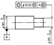 図44 同軸度公差及びデータムにMを指示した例
